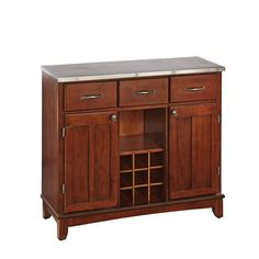 Large Cherry Buffet With Stainless Top