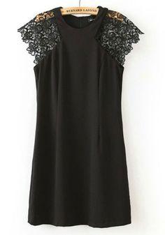 Black Patchwork Lace Short Sleeve Cotton Mini Dress #black #lace #fashion