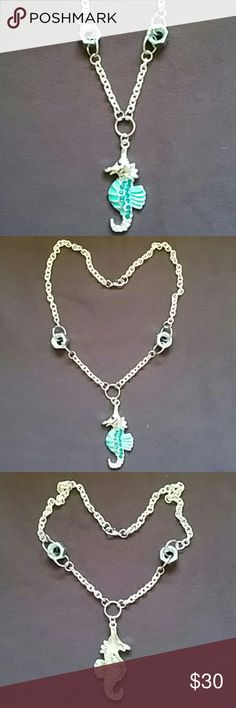 """Seahorse Necklace Industrial looking silver necklace featuring seahorse pendant and real nuts, 19"""" long outstretched from end to end, nuts toggle and seen""""t meant to stay flat making this such an awesome piece. Metalsmith Monkey Jewelry Necklaces"""