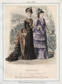 Walking Dresses, April 1875.  Pointed bodice! (source: Casey Fashion Plates @ LA Public Library)