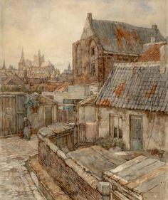 Frans Slager, Gezicht op de stad vanuit het St. Jacobskerkhof Frans, Den, Cozy, Painting, Shop Signs, Painting Art, Paintings, Painted Canvas, Drawings