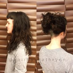 Layered, blunt bangs cut into the hair line, an undercut and natural texture. A bunch of my favorite things!