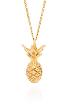 "This super cute, art deco-inspired Pineapple Necklace is great for everyday wear – adds a bit of Miami sunshine to any look.  Pineapple pendant features an intricately carved pattern of lines and circles on the body, with delicate leaves coming out the top.  Pineapple necklace is made in solid silver on an 18"" fine silver chain and then generously overlayed with 18ct gold.  Handmade in London from recycled silver, and comes beautifully packaged in a Lee Renee branded box."