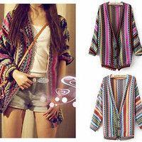 Boho Ethnic Colorful Wave Stripe Knit Top Blouse Sweater Cardigan S M #TFL