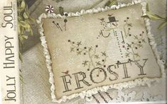 """WITH THY NEEDLE & Thread: """"Jolly Happy Soul"""" - Primitive Cross Stitch Snowman Pattern, Chart - Country Stitches - Brenda Gervais"""