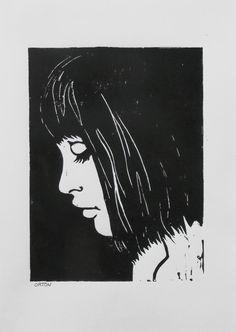 Linolium, Lino Art, Female Portrait, Nude Portrait, Foto Gif, Graphic Prints, Art Prints, Engraving Printing, Linoprint