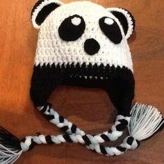 Gorro Adulto De Lana Tejido A Crochet, Orejeras Oso Panda - $ 150 ...