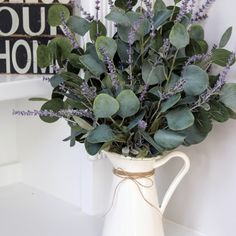 Farmhouse Arrangement~Table Decor~Faux Lavender Centerpiece~ Eucalyptus and Lavender in a White Pitcher - - Lavender Centerpieces, Eucalyptus Centerpiece, Lavender Decor, Farmhouse Style, Farmhouse Decor, Silk Flower Arrangements, Indoor Plants, Diy Home Decor, Table Decorations