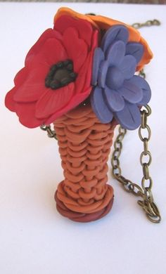clay flower basket