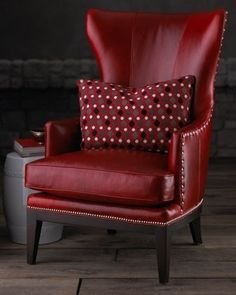 red wing chair by Horchow