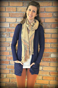 Long, trendy, navy blue, light weight cardigan with pockets. So comfy and versatile.   #Cardigan #fashion