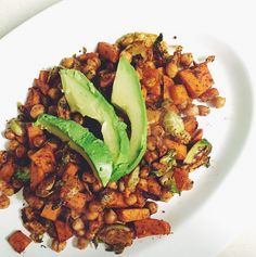 Sweet Potato Hash with Chickpeas, Brussels Sprouts & Avocado | The Friendly Fig