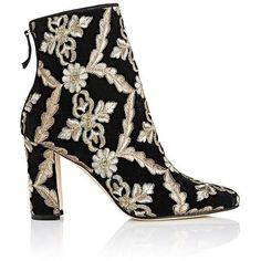 Manolo Blahnik Women's Isola Velvet Brocade Ankle Boots featuring polyvore, women's fashion, shoes, boots, ankle booties, ankle boots, black, black ankle booties, black ankle boots, black bootie, high heel ankle boots and chunky heel bootie