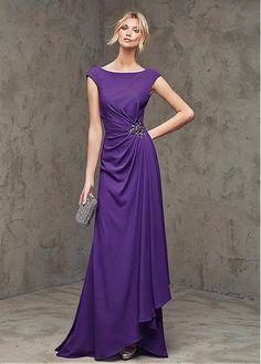 Elegant Chiffon Bateau Neckline Sheath Evening Dresses with Beadings