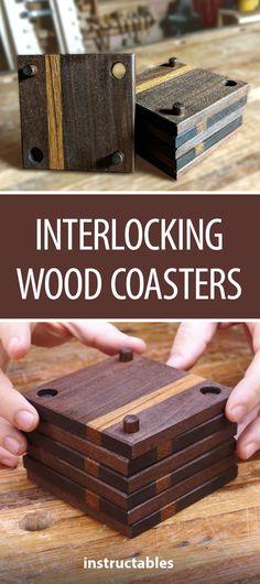 Interlocking Wood Coasters #woodworking #home #decor