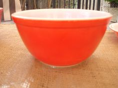 Vintage RED Pyrex bowl can be found at:  DSSDesigns.Etsy.com