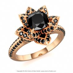 LOTUS BLOSSOM ROYAL CUSHION   Designer Engagement Ring with Black Onyx and Black Diamond in 14k Rose Gold