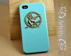 Brass Hunger Games Mockinjay Pendant Light Blue Iphone case, Iphone 4 case, Iphone 4S case, Hard case