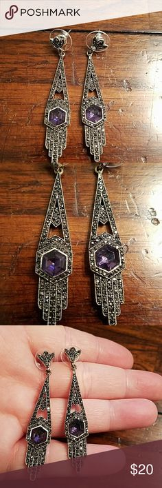 Art deco style purple and black stone earrings. Art deco style purple and black stone earrings. Great condition. Jewelry Earrings