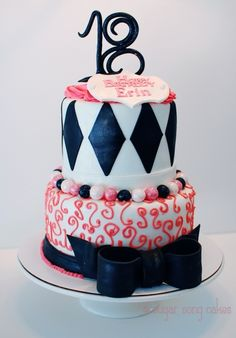 Pink Black and White Birthday Cake By lorieleann on CakeCentral.com