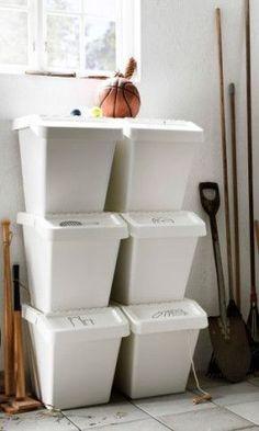 Ikea Garage Storage Recycling Bins Ideas For 2019 Recycling Bin Storage, Diy Garage Storage, Small Bathroom Storage, Storage Bins, Storage Spaces, Organisation Ikea, Storage Organization, Minivan Organization, Organization Ideas