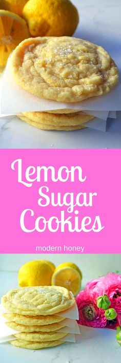 Lemon Sugar Cookies made with fresh lemon zest. The perfect soft and sweet lemon… Lemon Sugar Cookies made with fresh lemon zest. The perfect soft and sweet lemon cookie. Lemon Desserts, Just Desserts, Delicious Desserts, Yummy Food, Tasty, Healthy Desserts, Heathy Cookie Recipes, Cookie Cutter Recipes, Weight Watcher Desserts
