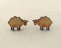 Sheep earrings - wooden eco friendly cute animal studs. Unique lasercut wooden jewelry, gift for knitter, New Zealand sheep jewelry. Cute!