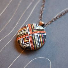 The place to buy and sell all handmade- L'endroit où acheter et vendre tout le fait main Margaret Cross Stitch Necklace by TheWerkShoppe on Etsy - Cross Stitching, Cross Stitch Embroidery, Hand Embroidery, Cross Stitch Designs, Cross Stitch Patterns, Textile Jewelry, Minis, Needlework, Jewelery
