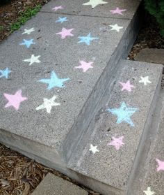 Katelyn's super hero party sidewalk chalk stars.