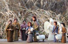 Nativity Set Needle Felted Mary Joseph Jesus by TheMermaidsMuse, $105.00