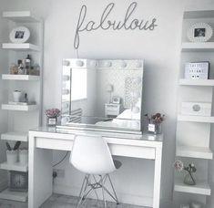 diy makeup vanity - Google Search Bedroom Makeup Vanity, Diy Makeup Vanity, Vanity Room, Makeup Room Decor, Makeup Rooms, Easy Makeup, Makeup Ideas, Makeup Vanities Ideas, Simple Makeup