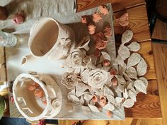 He had just removed from the oven!  Freshly burned ceramics.  Now waiting for the glazing...