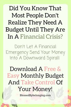Don't find yourself in an unexpected money situation! Monthly budgets are a little scary at first, because for some, it's a hard look at reality! But it doesn't have to be! Download my FREE and EASY monthly budget and take back control of your money! #money #moneyadvice #freedownload #freeprintable #frugalliving #frugal #budget #monthlybudget #printouts #financialadvice #parenting #motherhood #adultadvice #free #printable #download #daveramsey #momtips #moneysaving #moneysavingtips