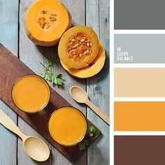 Esta gama de color cálida y agradable incluye el gris, el vainilla, el calabaza y el marrón. Tales colores son convenientes para decorar una cocina a los estilos