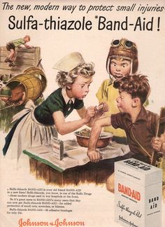 Vintage Ad 1943 Children Playing War Band Aid Advertising Little Girl Nurse and Soldiers