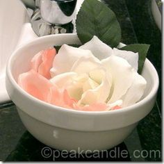 Flower Petal Soap. Each petal can be used to scrub the grime off of dirty hands, and can be discarded after use, so that each guest can use their own personal soap. Plus, they add beauty to any bathroom decor.