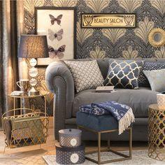 Gold and Grey Living Room Decor | Maisons du Monde
