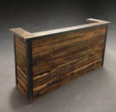 Reclaimed wood reception desk custom made in Brooklyn NYC Reception Desk Design, Office Reception, Reception Areas, Receptionist Desk, Reclaimed Wood Desk, Industrial Office Design, Furniture Making, Office Furniture, Table Furniture