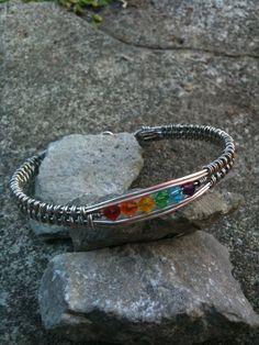 Handmade item Materials: 20 gauge wire, 26 gauge wire, swarovski crystals wire weave bangle bracelet by MoonshineGems on Etsy