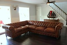 Our New Leather Chesterfield Sectional Sofa! CUSTOM LEATHER KENZIE WE MADE FOR ADRIENNE.  MONARCHSOFAS.COM