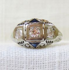 Art Deco 18k Gold Diamond and Sapphire Engagement Ring .35 Carats by MagpieVintageJewelry on Etsy