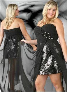 Boutique A-Line Asymmetry Beading Black Plus Size Short Formal Dress