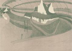 Bizar landschap (Paysage bizarre) uit de prentenserie Bruges mystique et sensuelle, 1899, Georges de Feure, Van Gogh Museum, Amsterdam (aankoop met steun van de BankGiro Loterij)