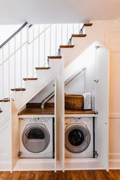 Checkout These Understairs Creative And Practical Space Ideas. Here are ideas for space under stairs. A hidden laundry. The DIY creating a walk in pantry with extra shelves for better organization. Or an extra closet for the spare bathroom. Hidden Laundry Rooms, Staircase Storage, Space Under Stairs, House Design, Room Design, Home, Hidden Laundry, Stairs Design, Stairs