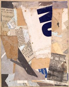 "transistoradio: "" Kurt Schwitters (1887-1948), E Rates (1946), collage on original support sheet, 14.6 x 18.1 cm. Via famsf.org. """