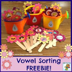 Free spring-themed short vowel sorting activity.
