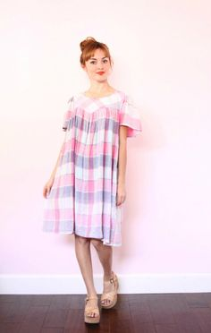 1970s Pastel Tent Dress  Madras Babydoll Sundress  by xYATESx