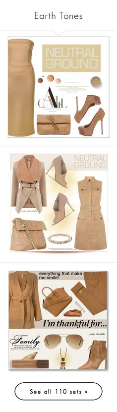 """""""Earth Tones"""" by conch-lady ❤ liked on Polyvore featuring Erika Cavallini Semi-Couture, Yves Saint Laurent, LULUS, EX1 Cosmetics, Lumière, neutrals, Karen Millen, Oasis, Helmut Lang and Diverso"""