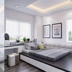 Cute bedroom area for a studio apartment Small Bedroom Designs, Small Room Bedroom, Bedroom Loft, Home Bedroom, Modern Bedroom, Bedroom Decor, Bedrooms, Trendy Bedroom, Dorm Room