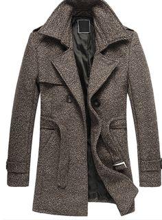 Tom's Ware Mens Premium Wool Blend Pea Coat TWNFD075J1-BROWN ...
